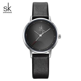 wrist watch brass UK - wholesale Ladies Watches Black Fashion Leather Wrist Watch Female Clock Reloj Mujer 2019 SK Luxury Brand Women Quartz Watch