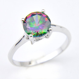 China Luckyshine Woman Jewelry Round Rainbow Mystic Topaz Gemstone Rings 925 Silver Rainbow Zircon Engagement Rings #7 #8 #9 cheap wholesale round gemstones suppliers
