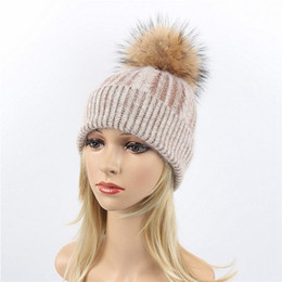 504cd0af014 Winter Women Beanies Hats Wool Knitted Hat Girls Knit Beanie Cap for Women  Warm Beanie With Real Raccoon Fur Pompom Ball Caps
