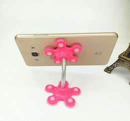 flowers blue Australia - Sucker Stand for Cell Phone 360 degree Rotatable Flower Magic Suction Cup Mobile Phone Holder Car Bracket Mount Compatible