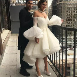 Full Length Robe Soiree NZ - 2019 Fashion High Low Ankle Length Evening Dresses Flare Full Sleeves Off The Shoulder Lace Pleated Prom Gowns Robe De Soiree