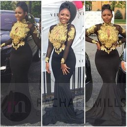 Nigerian White Lace Short Dress Styles Australia - Nigerian African Style Black Mermaid Prom Dresses With Gold Lace Applique Sexy Keyhole High Neck Open Back Formal Evening Gowns Long Sleeves