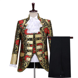 Renaissance faiRy costumes online shopping - prince royal mens period jacket with pants costume Medieval suit stage performance Prince charming fairy William civil war Colonial