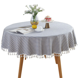 linen cotton tablecloth UK - Cotton Linen Tablecloth Table Runner Cover Striped Living Room For Kitchen Round Tassel Dining Dust-Proof Decorative