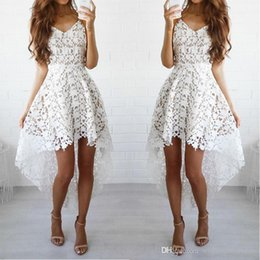 $enCountryForm.capitalKeyWord Australia - White High Low Homecoming Dresses With Straps Lace Short Prom Dresses For Homecoming Party Gowns Custom Made