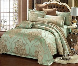 hand embroidered bedding NZ - Silk Stain Jacquard Bedding Set Luxury Bedding Sets Jacquard Duvet Cover Set wedding Bedclothes Bed Linen Quilt Cover