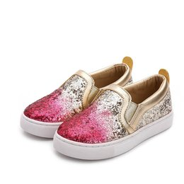 Boutique Girl Shoes Australia - Boutique sequin kids shoes kids designer shoes girls shoes glisten Gold Kids Casual Shoe Girls Sneakers kid trainers Sneakers A3878