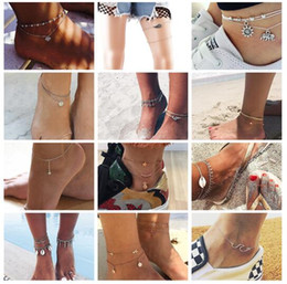 vintage plastic figures 2019 - Fashion Crystal Anklet Set Vintage Handmade Ankle Bracelet for Women Party Summer Beach Accessories 20 styles ALXY cheap