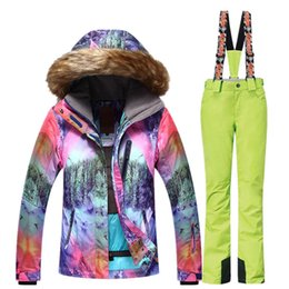 woman s ski suit Australia - GSOU SNOW Women Ski Suit Hooded Waterproof Mountain Skiing Suit Snowboard Ski Jacket Pants Set Winter Outdoor Sports Clothing