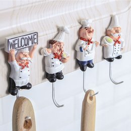 2b662d4a59823 Kitchen Cartoon Chef Style Resin Power Cord Wall Hooks For Hanging Clothes  Coat Hat Towel Adhesive Seamless Paste Storage