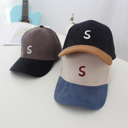 $enCountryForm.capitalKeyWord Australia - New children's curved baseball caps for spring and fall 2019;Corduroy embroidery letter S outdoor sun protection hat 5 colors