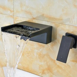 Control valves types online shopping - Newly Black Brass Basin Faucet Taps Single Lever Bathroom Waterfall Spout Mixer Valve Taps Wall Mounted