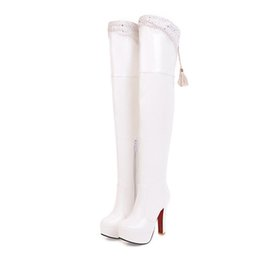 eba6b7a3ad60 Sexy Female Over The Knee Boots Patent Leather 11.5cm High Heel Platform Thigh  High Boots for Women Lady Tall Pole Dancing Boots
