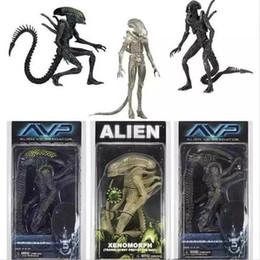 Aliens Action Figures Australia - Neca Aliens Vs Predator Avp Series Grid Alien Xenomorph Translucent Prototype Suit Warrior Alien Action Figure Model Toy 18cm Y190604