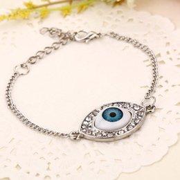 Silver Evil Eye Bracelets Australia - Hot Popular Silver Plated Evil Eye Pendant Bracelets Rhinestone Charm Bangle Chain Bracelet For Women