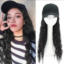 deep hats Australia - Wig with hat female long curly fashion baseball cap natural black wig with hat