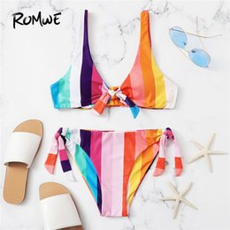 $enCountryForm.capitalKeyWord NZ - Romwe Sport Colorful Striped Bowknot Detail Top Tied Side Bottoms Bikinis Set Women Beach Swimsuit Plunge Neck Sexy Swimwear Y19072601