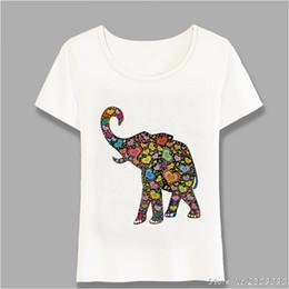 f4305082 Beautiful Hippie Heart Pattern Elephant Colorful T-Shirt Fashion Cute Women  Casual Tees Summer T Shirt Woman Tops Harajuku