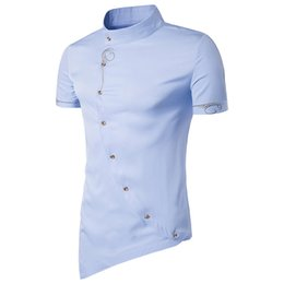 Wholesale oblique button shirt for sale – dress Men Shirt Short Sleeve Brand New Tops Personality Oblique Button Dress Shirts Mandarin Collar Men Tuxedo Shirts EU Size