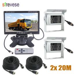 """24v Camera NZ - 12V-24V 4Pin Car Bus Rear View Kit 7"""" LCD Monitor + 2x White CCD IR Night Vision Waterproof Reversing Parking Backup Camera 20M Cable"""