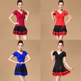 tango dancewear UK - New Latin Dance Dress Women Square Salsa Samba Tango Latin Dance Dress Competition Dresses Tango Skirt Dancewear