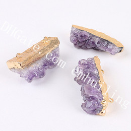 $enCountryForm.capitalKeyWord Australia - 10pcs Raw Amethyst Druzy Slice Double Bails Pendant Natural Quartz Crystal Cluster Geode Connector Gold Silver Plated Gemstone Jewelry Links