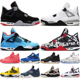 $enCountryForm.capitalKeyWord NZ - Drop Shipping New Bred 4 4s What The Cactus Jack Laser Wings Mens Basketball Shoes Denim Blue Tattoo Pale Citron Men Sport Designer Sneakers