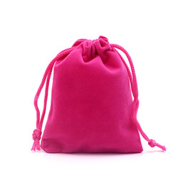 $enCountryForm.capitalKeyWord UK - Wholesale 50pcs lot 7x9cm Hot Pink Velvet Jewelry Bag Favor Charms Jewelry Packaging Bags Small Velvet Drawstring Pouch Gift Bag