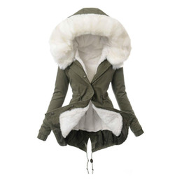 Fur Hooded Zipper Long Style Australia - Women Winter Jacket Warm Faux Fur Hooded Long Sleeve Coat Slim Cotton Fit Thicken Outwear Solid England Style Mid-Length Coats