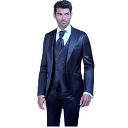 Images Fashionable Suits UK - Fashionable One Button Groomsmen Peak Lapel Groom Tuxedos Men Suits Wedding Prom Dinner Best Man Blazer(Jacket+Pants+Tie+Vest) A370