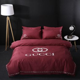 brands bedding sets Canada - Brand Design DoublBedding Set Polyester Cotton Soft Bed Linen Duvet Cover Pillowcases Bed Sheet Sets Home Textile Coverlets 4 PC Lot 444