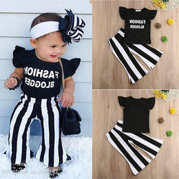 Wholesale ruffle for sale – plus size Baby Kids Girls Clothes Summer Girls T shirt Trousers Piece Sets Kids Designer Clothes Ruffle Letter T shirt Striped Trousers