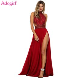 night club dress slits Australia - Adogirl Women Sexy Sheer Lace High Slit Maxi Evening Party Dresses Backless Summer Beach Dress Female Night Club Long Vestidos Y190507