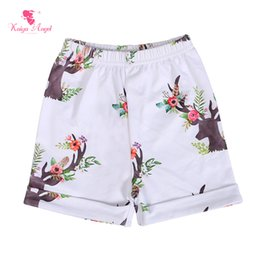 kids wholesale leather pants Canada - Kaiya Angel Hot Sale Children Short Pants Child Flower Boutique Clothing Wholesale Kids Elephant Cock Deer Baby Girl Boy Shorts