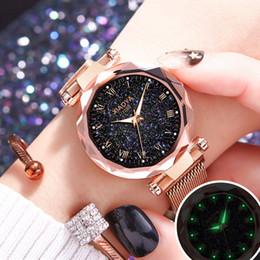 Bright Blue Watches Australia - Relogio Feminino Luxury Bright Starry Sky Watch Women Fashion Ladies Quartz Rose Gold Clock Magnetic Mesh Female Wristwatch