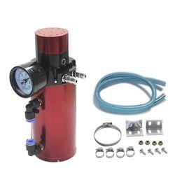 $enCountryForm.capitalKeyWord Australia - Aluminum Engine Oil Catch Reservoir Breather Tank Can+Vacuum Pressure Gauge Oil Catch Tank Oil Catch Can