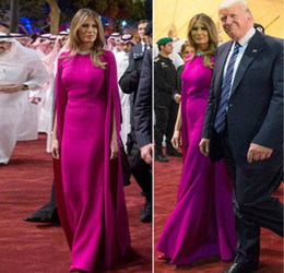 sexy navy outfit 2019 - Melania Trump Same Elegant Evening Dresses Saudi Arabia Respectful Tour Outfits Floor Length Formal Evening Dresses Chin