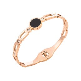 rose acrylic UK - 2019 new Stainless Steel Rose Gold Black Acrylic Dot Opening Woman Bracelet trend Simple fashion woman jewelry