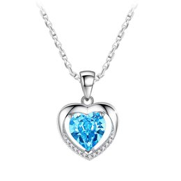 $enCountryForm.capitalKeyWord NZ - Luxury Crystal heart Love pendant Necklaces Women Blue White CZ Gemstone Charm Silver plated chain For Ladies Fashion Jewelry Gift
