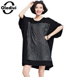 $enCountryForm.capitalKeyWord NZ - Oladivi Oversized Shirt Dresses Women Fashion Print Long T-shirt Plus Size Ladies Tops Tees Black Cotton Dress Female Tunics 8xl Y19053001