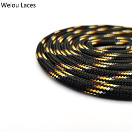 $enCountryForm.capitalKeyWord Australia - Weiou 6mm Round Rope Laces Black With Colorful Dots Line Yellow Bootlaces Unisex Striped Shoelaces For Sneakers Christmas Sale