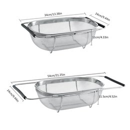 hollow board UK - Retractable Stainless Strainer Mesh Hollow Washing Basket Drain Rack Dish Drying Rack Draining 3 in 1 Chopping Cutting Board