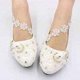 $enCountryForm.capitalKeyWord Australia - Flats white lace crystal wedding shoes bride handmade sweet designer ladies girls party proms dress dancing flats shoe