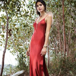 3d7a3b1c66 Women Clothes Sexy Dress Red Satin Silk Slippery Fabric Fashion New with  Designer Dress Cross and Open Back Suspender Long Skirt Dresses