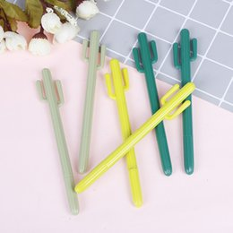 Korean Gel Pens Australia - 2pcs lot Cactus Gel Pens Novelty Green Plants Neutral Pens For School Supplies Writing Gifts Korean Stationery Kawaii
