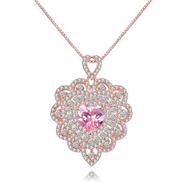 Wholesale Heart Shaped Diamonds Australia - Summer Pink Heart-Shaped Zircon Diamond Hollow Golden Sliver Color Pendant Sweet Korean Style Micro-inlaid Craft Rose Gold Charm Necklaces
