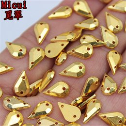 Sew Rhinestones For Clothes Australia - Micui 500PCS 6*10mm Drop Golden Crystal Acrylic Rhinestone Sew On Flat Back Crystals Stones For Clothing Dress Diy ZZ220D
