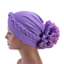 Chinese  Woman Big Flower Turban Elastic Cloth Hair Accessories Hair Bands Hat Chemo Ladies Muslim Scarf Hijab Cap Flower Bonnet Beanie for Girl manufacturers