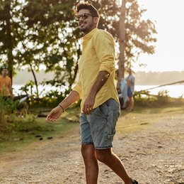 Discount plain shirt blouse - 2019 New Men Summer Casual Linen Shirts Solid Plain Long Sleeve Slim Fitness Shirts Top Blouse Man Male Fashion Breathab