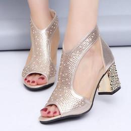bling wedding sandals 2019 - Fashion 2019 Women Sandals Bling 7cm High Heels Diamond Summer Square Heel Women Shoes Wedding Shoes Leather Sandalia Mu